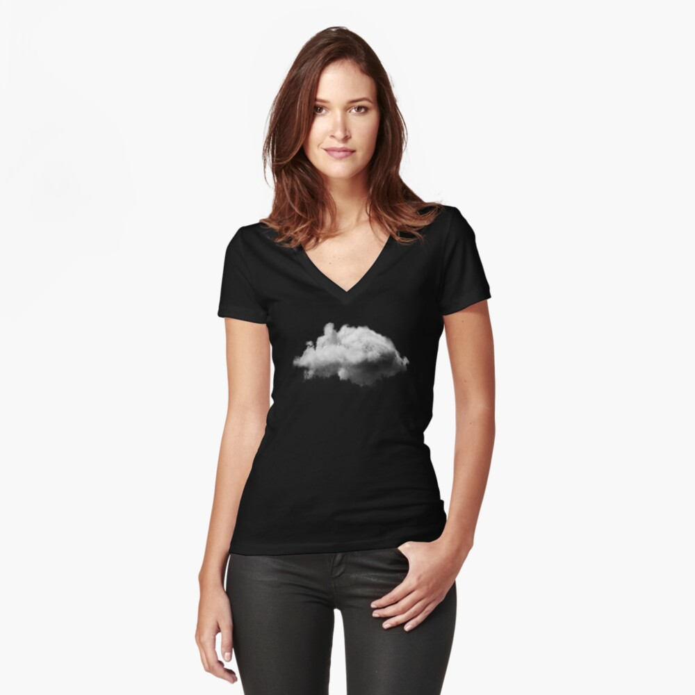 WAITING MAGRITTE Fitted V-Neck T-Shirt
