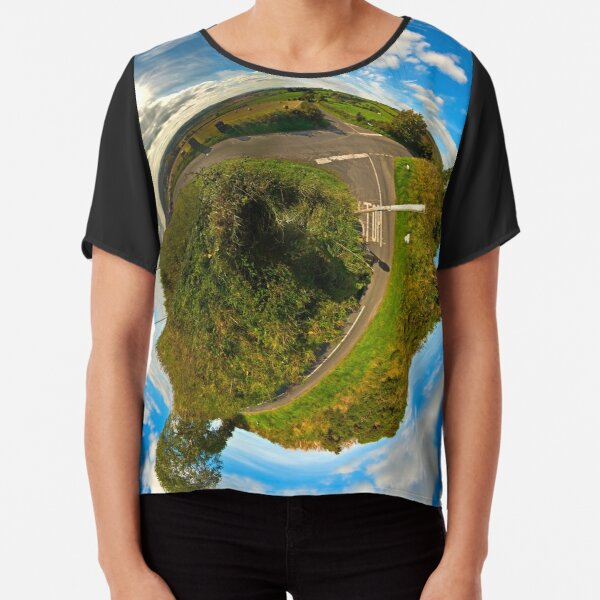 Country Roads - Killea Crossroads, Derry, N. Ireland Chiffon Top
