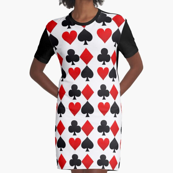 Hearts Diamonds Clubs Spades Playing Card Graphic T-Shirt Dress