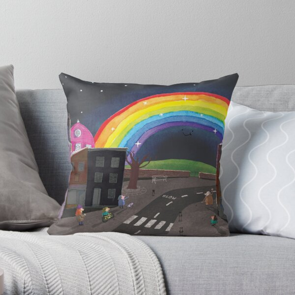 Rainbow Night Throw Pillow