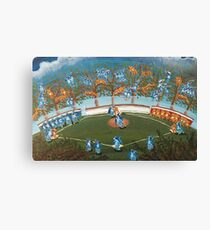 Animal Baseball! Blue Jays vs Tigers Folk Art Canvas Print