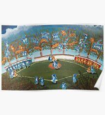 Animal Baseball! Blue Jays vs Tigers Folk Art Poster