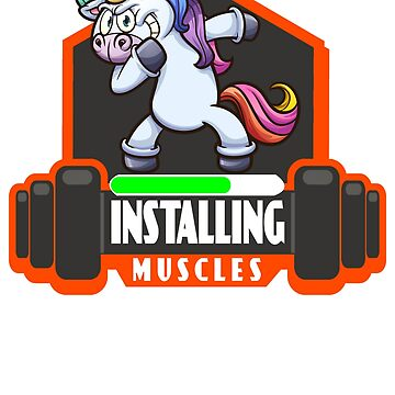 installing muscles - funny unicorn gym t-shirt by stefanof