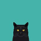 Cat head black cat peeking gifts for cat lovers pet portraits by PetFriendly