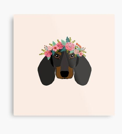Dachshund floral crown dog breed pet art dachshunds doxie pupper gifts Metal Print