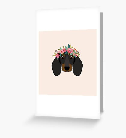 Dachshund floral crown dog breed pet art dachshunds doxie pupper gifts Greeting Card