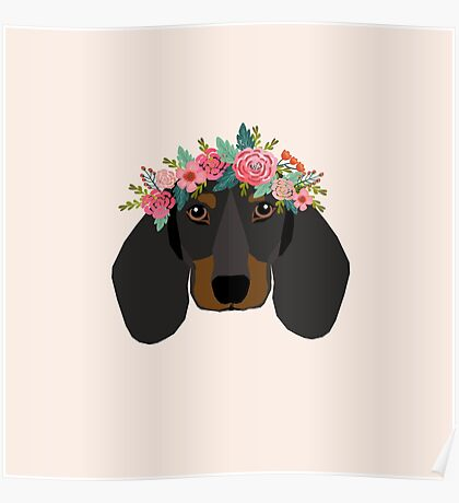 Dachshund floral crown dog breed pet art dachshunds doxie pupper gifts Poster
