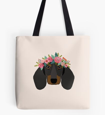 Dachshund floral crown dog breed pet art dachshunds doxie pupper gifts Tote Bag