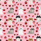 Pekingese valentines day dog breed cupcakes love hearts pet pattern gifts by PetFriendly