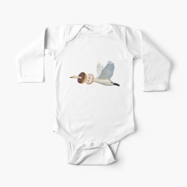 Cute Swan Donuts Hunter by Alice Monber Long Sleeve Baby One-Piece