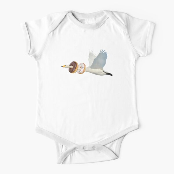 Cute Swan Donuts Hunter by Alice Monber Short Sleeve Baby One-Piece