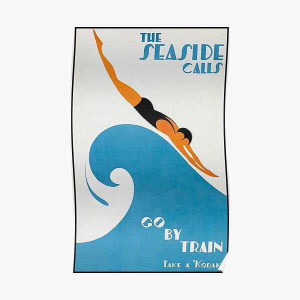 The Seaside Calls, Australia Vintage Travel Poster Poster
