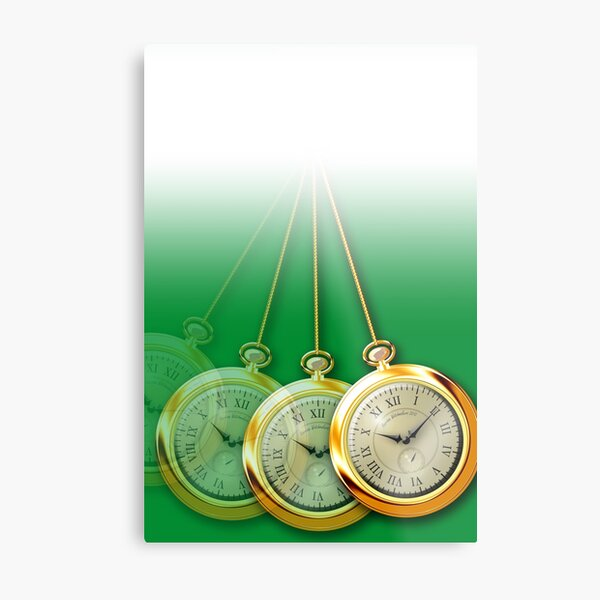 Green Hypnosis Swinging Pocket Watch Design Metal Print
