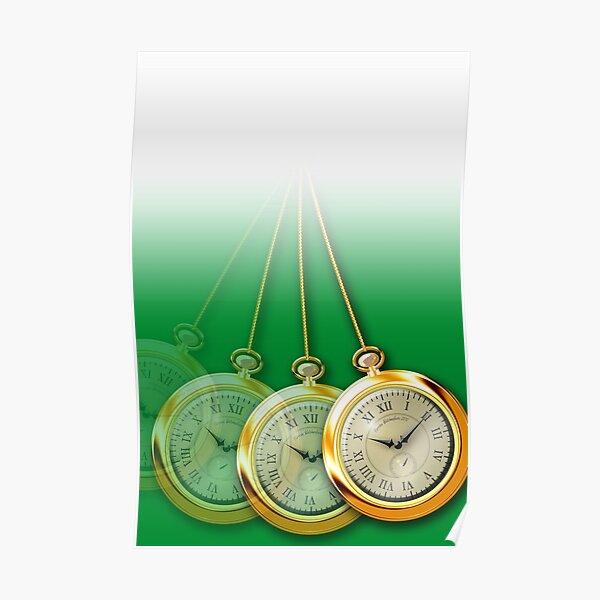 Green Hypnosis Swinging Pocket Watch Design Poster