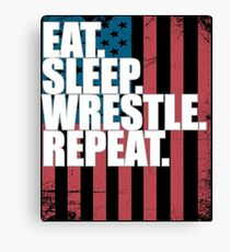 Wrestling USA Flag Design - Eat Sleep Wrestle Repeat Canvas Print