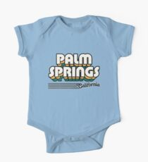 Palm Springs, California | Retro Stripes Short Sleeve Baby One-Piece