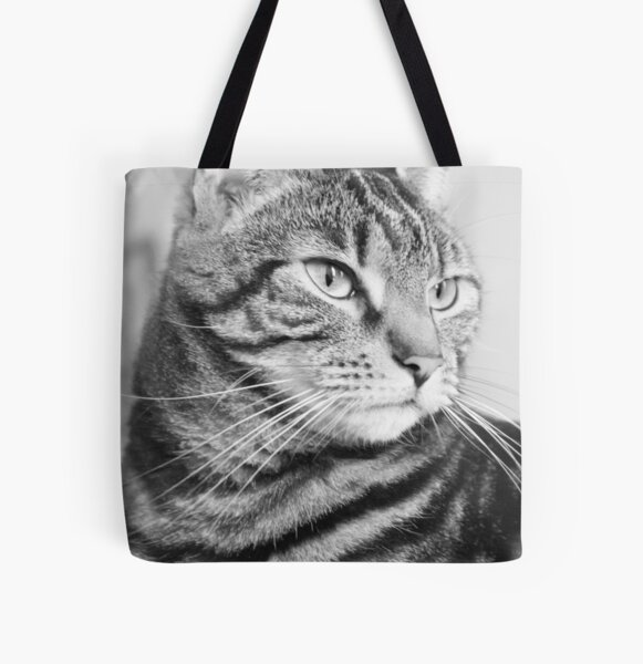 Tabby Cat in Black and White All Over Print Tote Bag