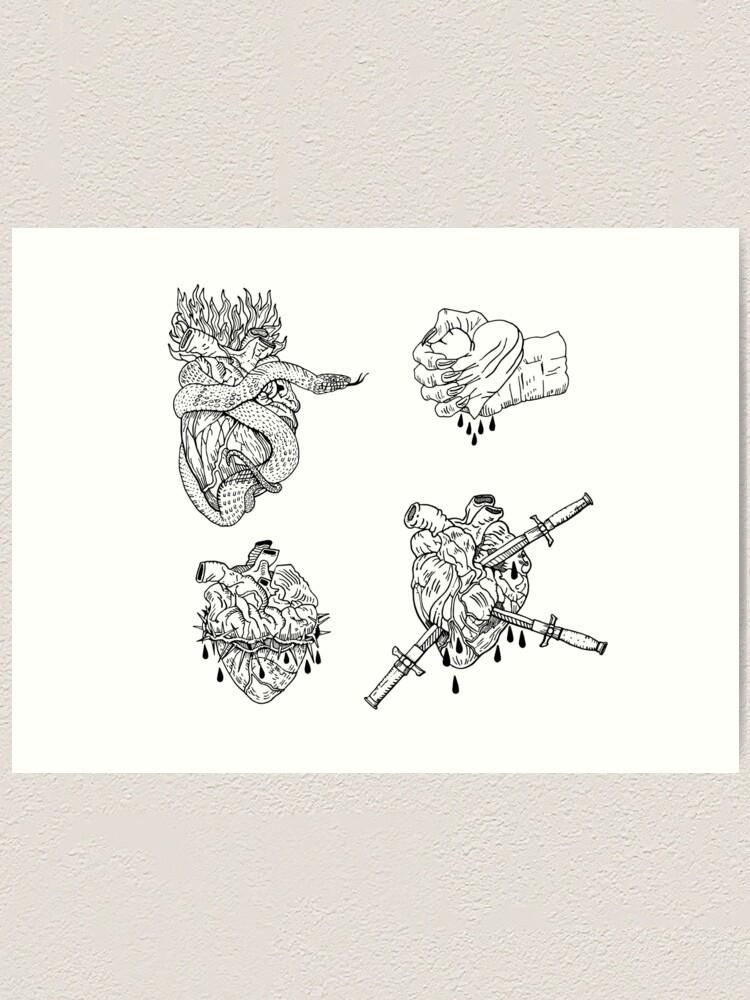 Alternate view of Love is evil black & white. Art Print