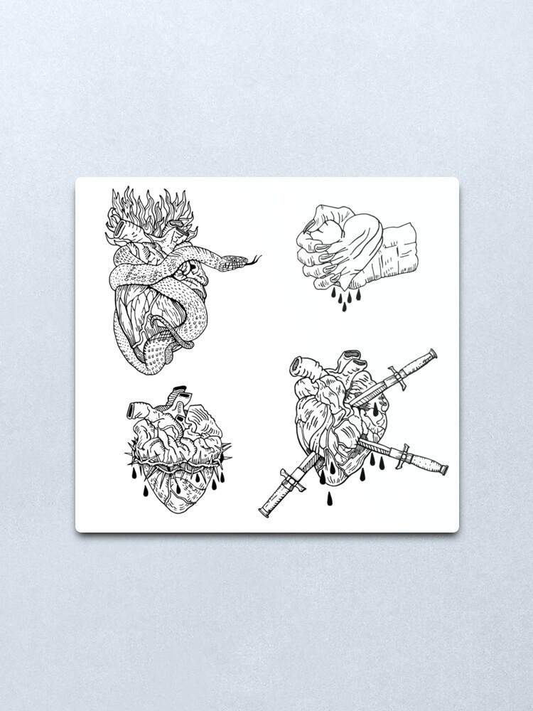 Alternate view of Love is evil black & white. Metal Print