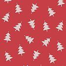 Pixel-Waldmuster im Weinlese-Rot von daisy-beatrice