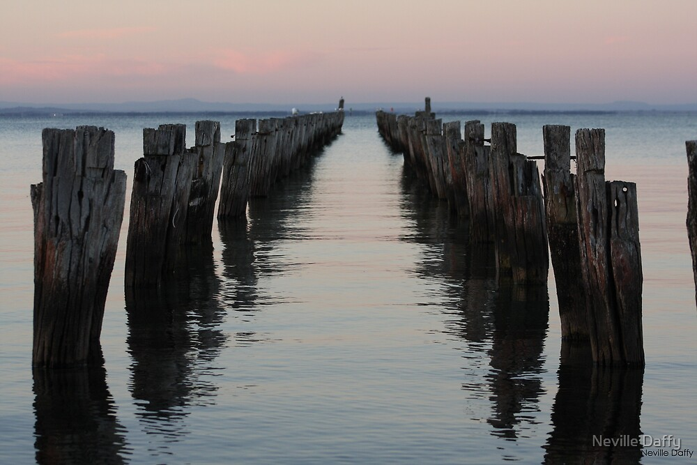 Old Pier at Clifton Springs by Neville Daffy