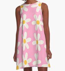 Rosa Gänseblümchen-Design A-Linien Kleid