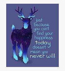 """""""Just Because You Can't Find Your Happiness"""" Galaxy Reindeer Photographic Print"""