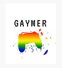 Clever Gaymer (Gay Gamer) Rainbow Design Photographic Print