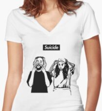 SuicideBoyS Art Outlines $uicideboy$ Women's Fitted V-Neck T-Shirt