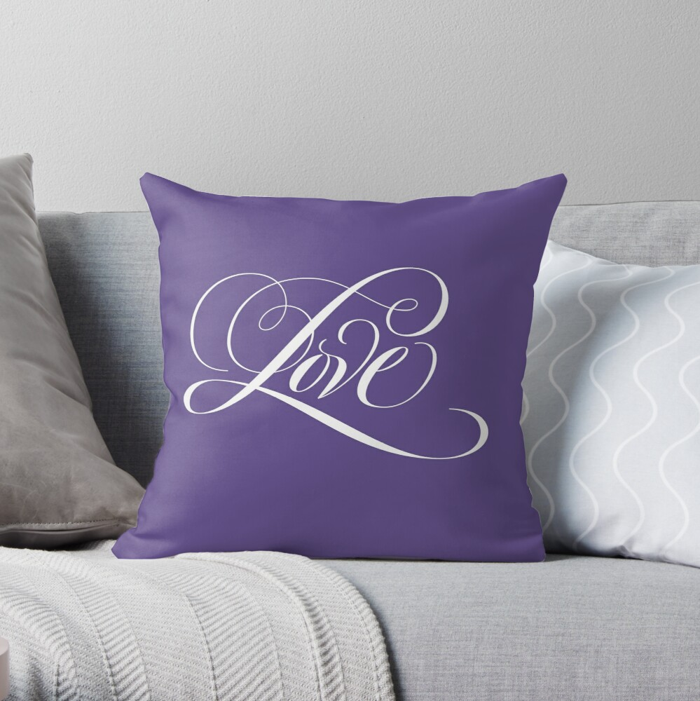 LOVE  Calligraphy Script Lettering on Ultra Violet Purple - Color of the Year 2018 Throw Pillow