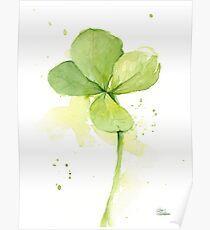 Clover Watercolor St Patricks Art Poster