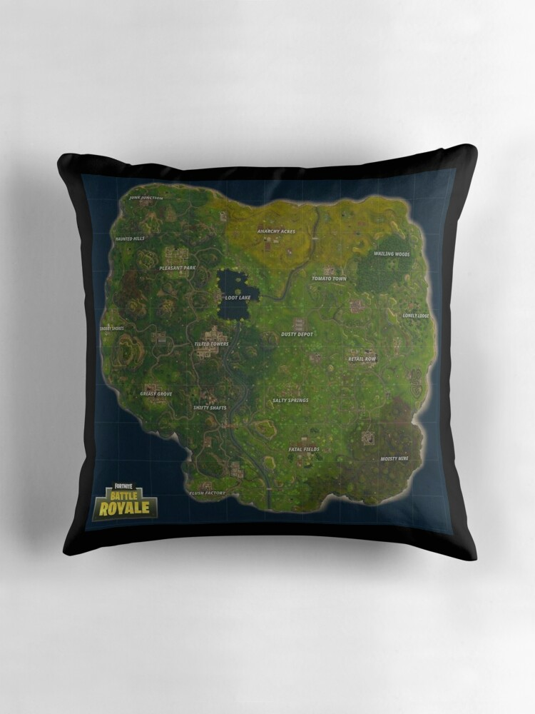Quot Fortnite Battle Royale Map Quot Throw Pillows By Weheartdogs