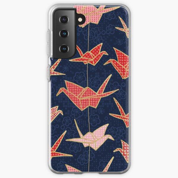 Red origami cranes on navy blue Samsung Galaxy Soft Case