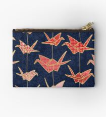 Red origami cranes on navy blue Studio Pouch
