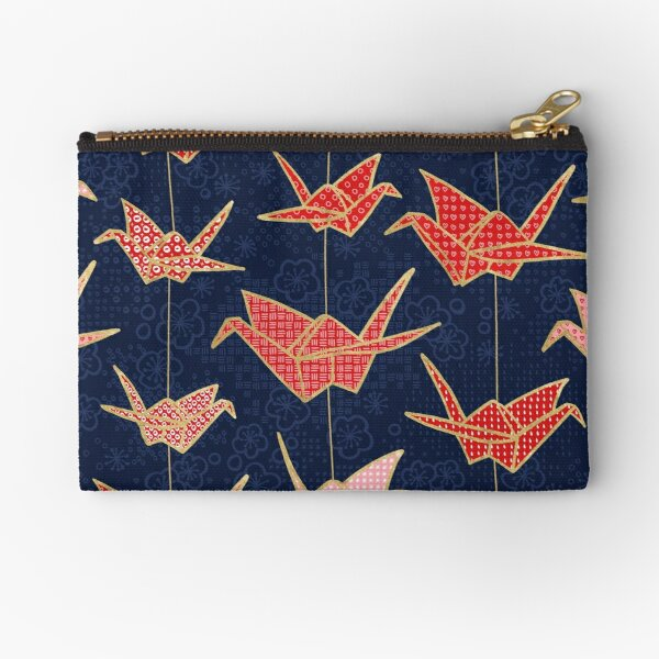 Red origami cranes on navy blue Zipper Pouch