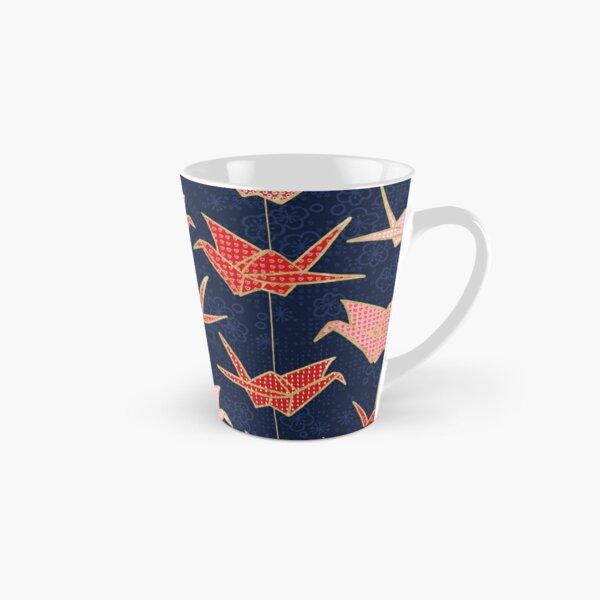 Red origami cranes on navy blue Tall Mug