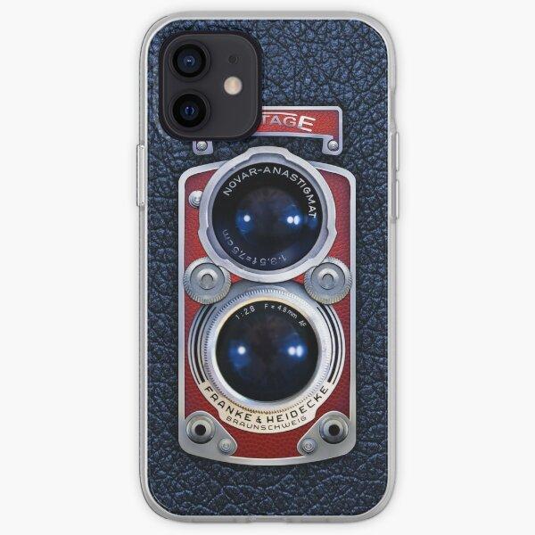 Cámara Vintage con lente doble ROJA Funda blanda para iPhone