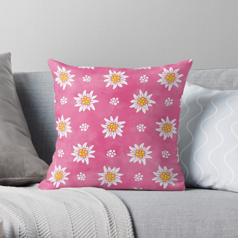 ALPS EDELWEISS ON ROSE, BY SUBGIRL Throw Pillow