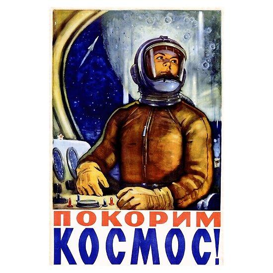 Erste Frau im Weltraum - Sowjetische Weltraumprogramm Poster Kunst von Chunga
