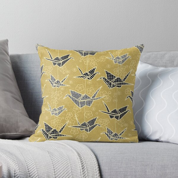 Black and Gold Japanese Origami Cranes Throw Pillow