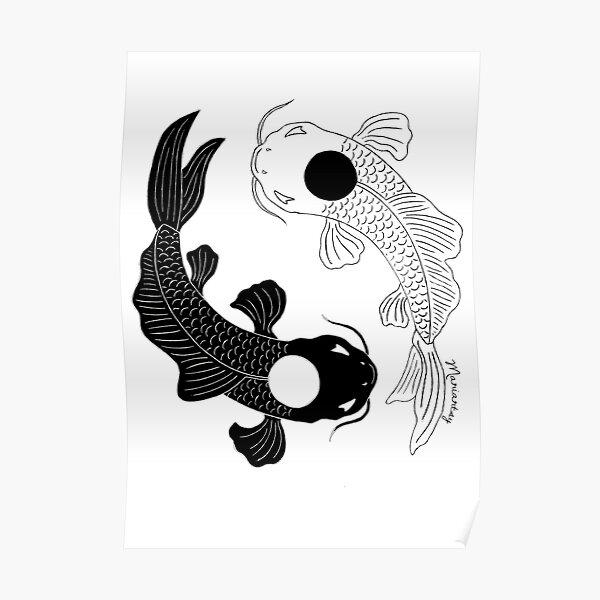 Koi Fish, Ying Yang Poster