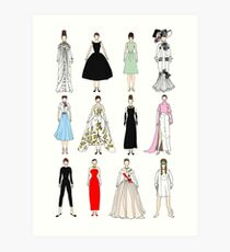 Outfits of Audrey Fashion Art Print