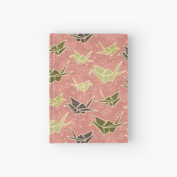 Rose and Olive Paper Cranes with Flowers Hardcover Journal