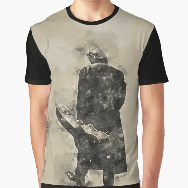 Johnny Cash Man in Black Graphic T-Shirt