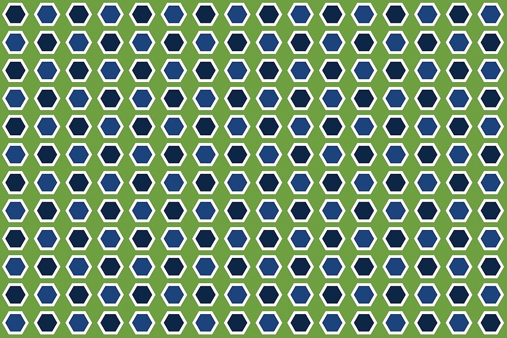 Blue Hexies on Green by Annie Webster