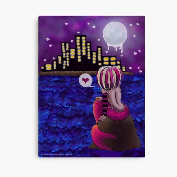 Little Mermaid Watching The City At Night Canvas Print
