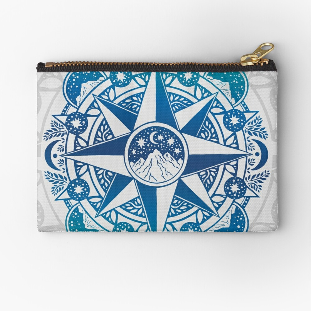 Journey to Moon Mountain | Turquoise Navy Ombré Zipper Pouch