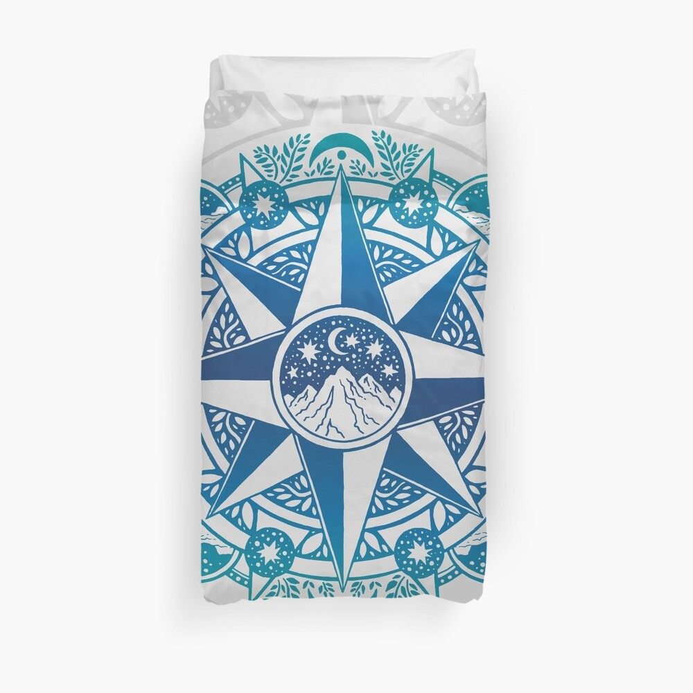 Journey to Moon Mountain | Turquoise Navy Ombré Duvet Cover
