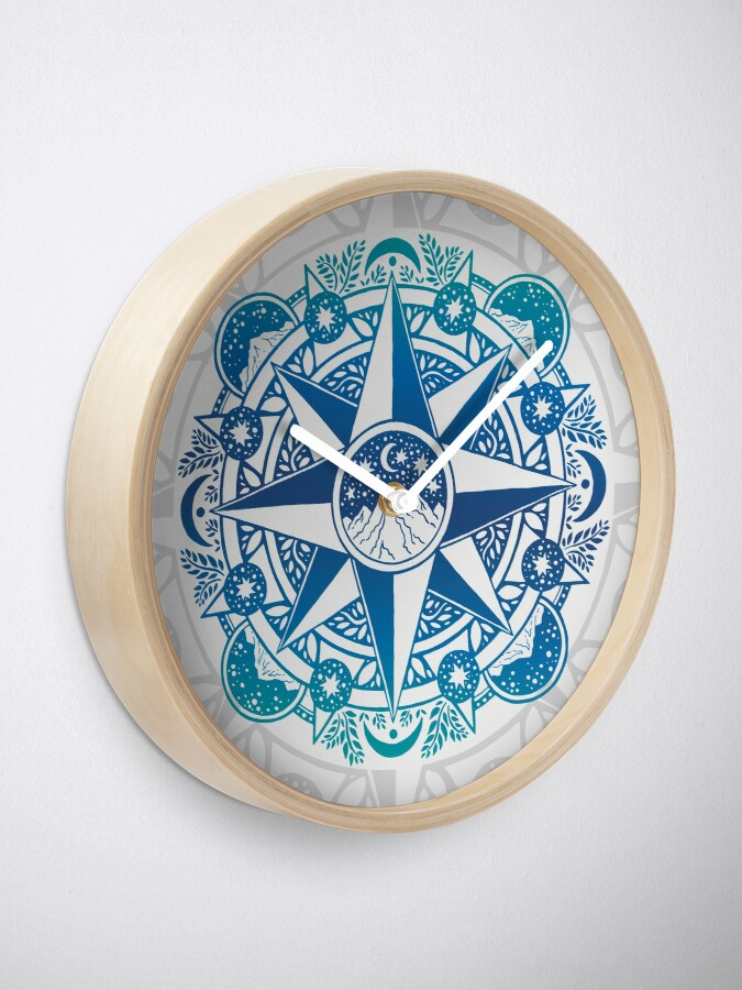 Alternate view of Journey to Moon Mountain | Turquoise Navy Ombré Clock