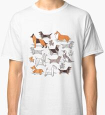 Origami doggie friends // grey linen texture background Classic T-Shirt